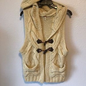 Free People chunky wool blend hooded vest